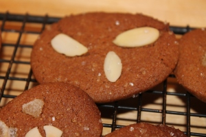 ginger snap with slivered almonds